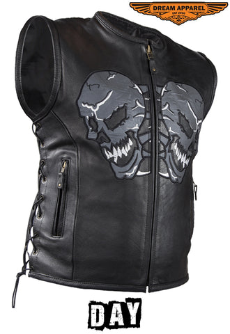 Mens Leather Vest With Reflective Evil Skulls