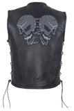 Mens Leather Vest With Reflective Skulls