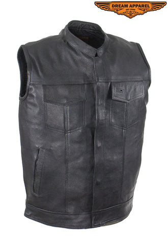 Mens Motorcycle Club Vest With Black Line