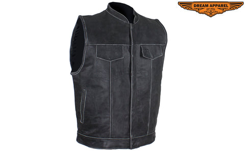 Men's Gray Motorcycle Club Vest