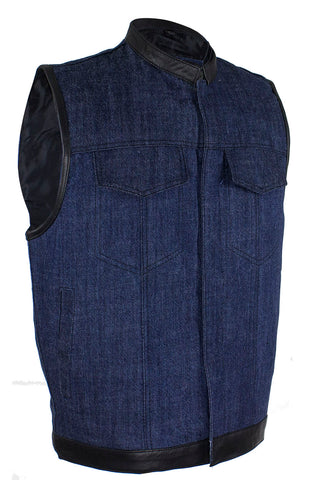 Men's Dark Blue Denim Club Vest with Gun Pockets