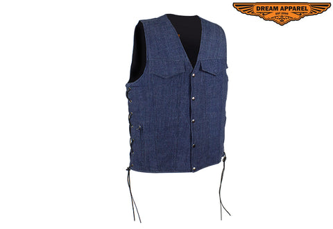 Men's Dark Blue Denim Motorcycle Club Vest
