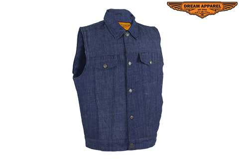 Men's Dark Blue Denim Gun Pocket Club Vest