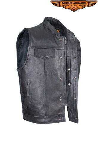 Mens Naked Cowhide Black Liner & Zipper Vest W/ Gun Pocket by Club Vest