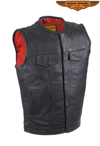 Mens Zippered No Collar Leather Motorcycle Club Vest with Red Liner