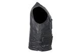 Mens Leather Cargo Vest With 9 Pockets