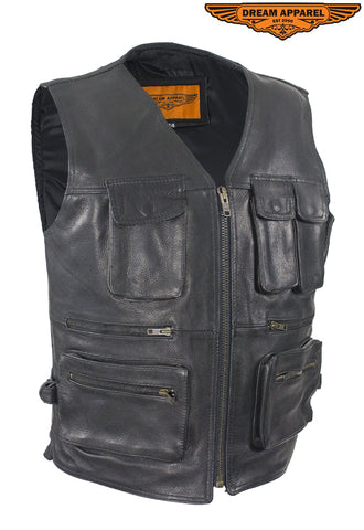 Mens Leather Cargo Vest
