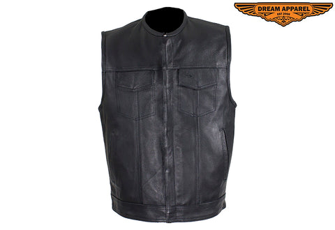 "Men's Zippered 1/2"" Collar Motorcycle Club Vest"
