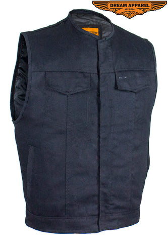 Men's Black Denim Gun Pocket Club Vest