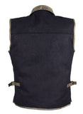 Men's Motorcycle Club Vest with Distressed Brown Leather Trim