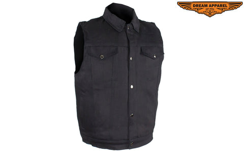 Men's Zippered Black Denim Club Vest