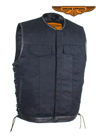 Men's Denim Gun Pocket Club Vest with Side Laces