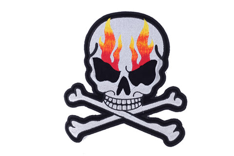 Silver Metallic with Flames Skull Crossbones Patch