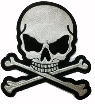 Silver Metallic Skull and Crossbones Motorcycle Patch