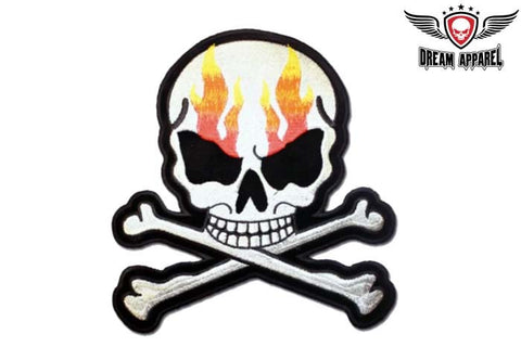Skull Flames with Crossbones Patch