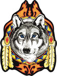 Wolf Head Feathers Patch