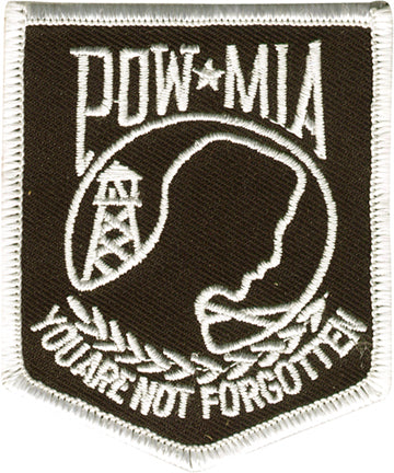 POW MIA Banner with White Outline Patch
