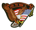 "Eagle American Flag ""Live to Ride"" Patch"