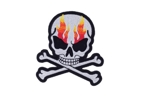 Silver Metallic Flaming Skull and Crossbones Patch