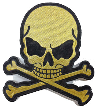 Gold Metallic Skull with Crossbones Patch