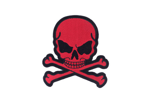 Red Flaming Skull with Crossbones Patch