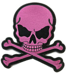 Light Pink Skull With Crossbones Biker Patch
