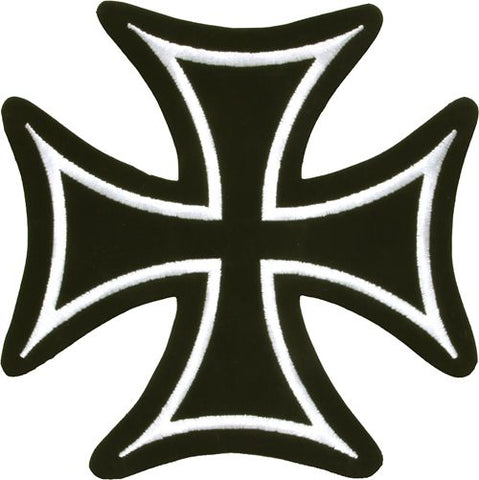 Iron Cross White Border Biker Patch