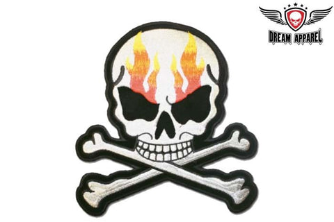 Flaming Skull with Crossbones Patch