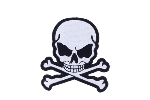 Silver Metallic Skull with Crossbones Patch