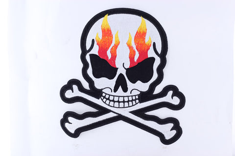 Silver Metallic Skull with Flames and Corssbones Patch