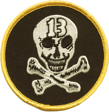 Skeleton Head with 13 and Yellow Border Patch
