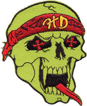 Green Skull with Red Bandana Patch