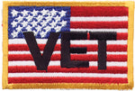 """Vet"" American Flag with Yellow Border Patch"