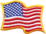 Waving American Flag with Yellow Border Patch