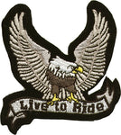 """Live to Ride"" Silver Eagle Patch"