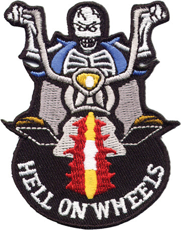 """Hell on Wheels"" Skeleton on Bike Patch"