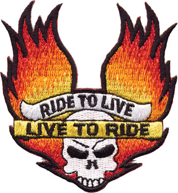 """Ride to Live /  Live to Ride"" Skull with Flame / Wing"