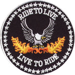 """Ride to Live / Live to Ride"" Eagle Patch"