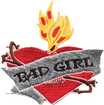 """Bad Girl"" Heart & Flame Patch"