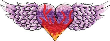 Flaming Heart with Wings Patch