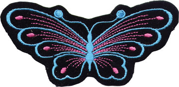 Black/Blue Butterfly Motorcycle Patch