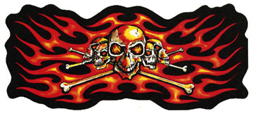 Orange Flame Skull Patch