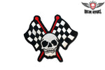Skull With Two Racing Flags