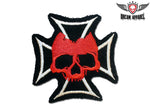 Red Skull On Chopper Cross Patch