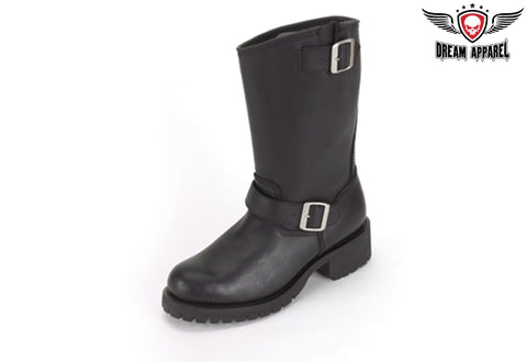 Wide Biker Boot With Double Buckle