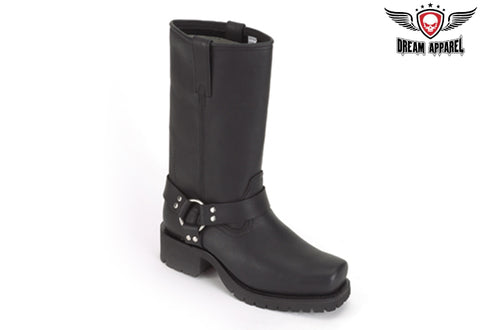 Wide Biker Boots With Straps & Ring At Ankle