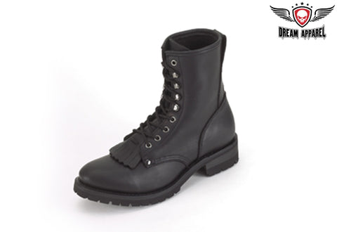 Womens Biker Boots With Laces & Tassle In Front