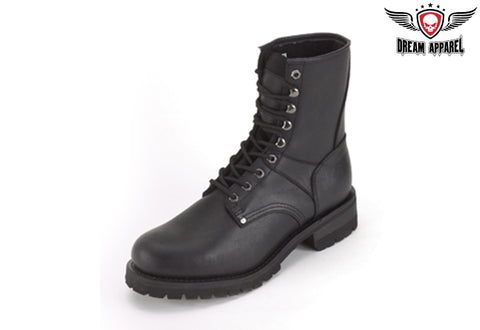 Wide Biker Boots With Laces Up Front