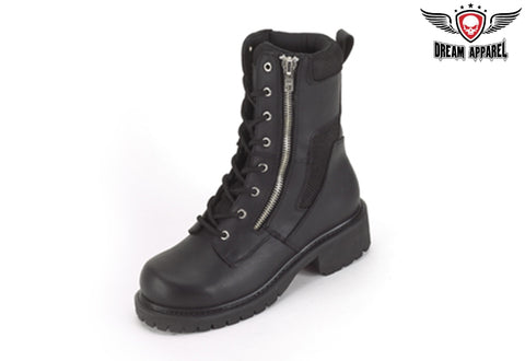 Wide Biker Boots With Lace Up Front & Side Zipper
