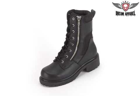 Womens Biker Boots With Lace Up Front & Side Zipper